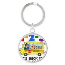 123 Back To School Round Keychain