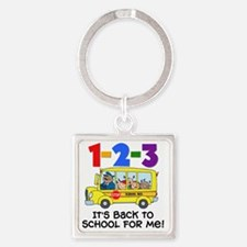 123 Back To School Square Keychain