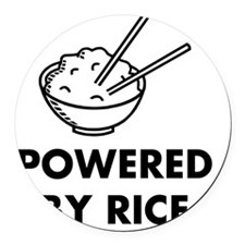 Powered By Rice Round Car Magnet