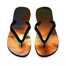 Inspirational heaven sunset Flip Flops
