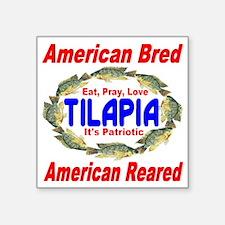 """Patriotic Tilapia Square Sticker 3"""" x 3"""""""