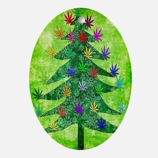 Holiday Marijuana Tree Ornament (Oval)