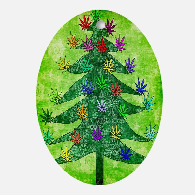 Holiday Marijuana Tree Ornament (Oval)