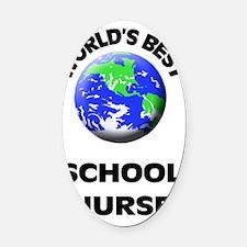 World's Best School Nurse Oval Car Magnet