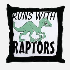 Runs with Raptors Throw Pillow