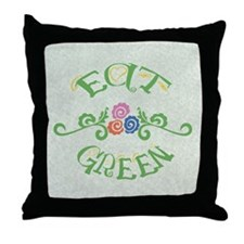 Eat Green Vegetarian Vegan Throw Pillow