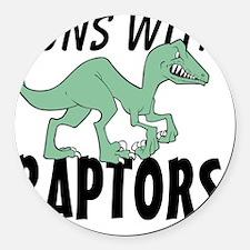 Runs with Raptors Round Car Magnet