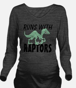 Runs with Raptors Long Sleeve Maternity T-Shirt