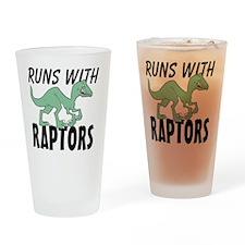 Runs with Raptors Drinking Glass