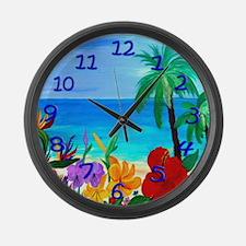 Tropical Beach Large Wall Clock