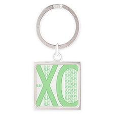 XC Run Run Green Square Keychain