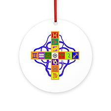 Greek Astrological Cross Round Ornament