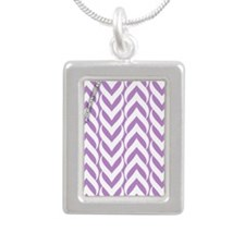 Chevron Zig Zag Pattern  Silver Portrait Necklace