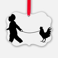 Baby and Chicken black Ornament