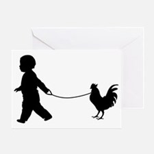 Baby and Chicken black Greeting Card