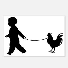 Baby and Chicken black Postcards (Package of 8)