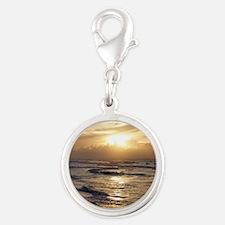 Myrtle Beach Sunrise Silver Round Charm