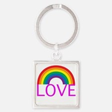 loveoneanotherpinkwh Square Keychain