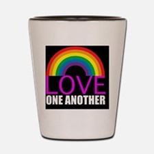 loveoneanotherbutton Shot Glass