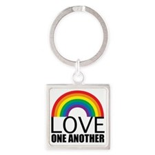 loveoneanotherred Square Keychain