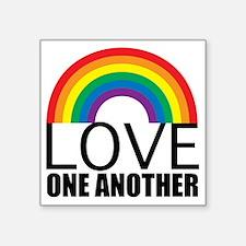 "loveoneanotherred Square Sticker 3"" x 3"""