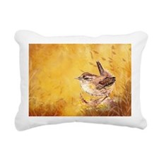 Watercolor Wren Bird Rectangular Canvas Pillow