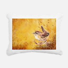 Watercolor Wren Bird Rectangular Canvas Pillow