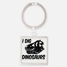 T Rex I Dig Dinosaurs Square Keychain