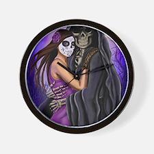 Grim Reaper Lovers Embrace Wall Clock