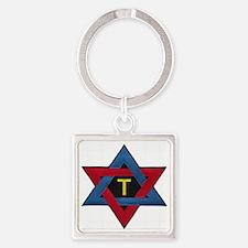 Hexagram Tau Patch Square Keychain