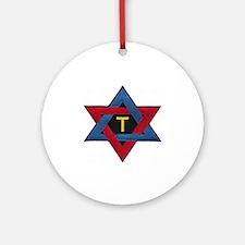 Hexagram Tau Patch Round Ornament