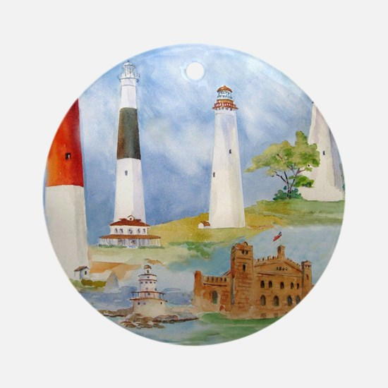 New Jersey Light houses Round Ornament