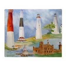 New Jersey Light houses Throw Blanket