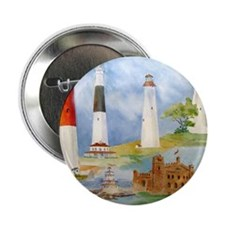 "New Jersey Light houses 2.25"" Button"