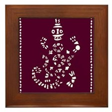 African Tribal Turtle Purple Framed Tile