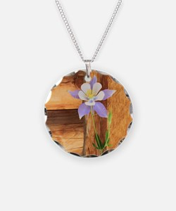 Columbine and Wood Necklace