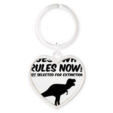 T Rex Extinct Man Rules Heart Keychain