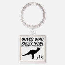T Rex Extinct Man Rules Square Keychain