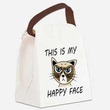 This Is My Happy Face Canvas Lunch Bag