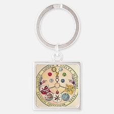 Rosicrucian Rose Square Keychain