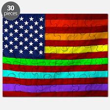Gay Rights Rainbow Patriotic Flag Puzzle