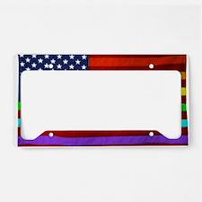 Gay Rights Rainbow Patriotic  License Plate Holder