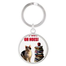Back to school cat Round Keychain