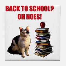 Back to school cat Tile Coaster