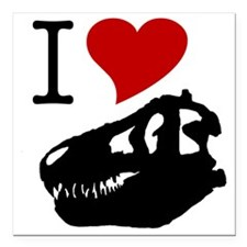 "I Love Fossils Square Car Magnet 3"" x 3"""