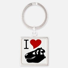 I Love Fossils Square Keychain