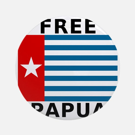 Free Papua Flag Round Ornament