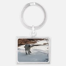"""""""I  Love  The  Snow,  Lets  Pla Landscape Keychain"""