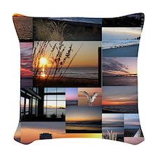 Sunrise/Sunset collage Woven Throw Pillow