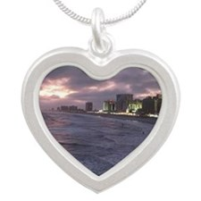 Sunset in Atlantic City Silver Heart Necklace